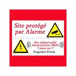 Sticker autocollant Site protégé par Alarme